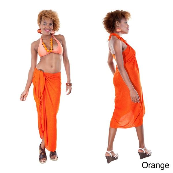 1 World Sarongs Women's Spiral Abstract Fringed Sarong (Indonesia)