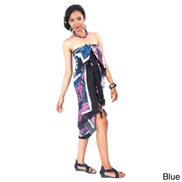 1 World Sarongs Women's Handmade Multicolored Abstract Graphic Sarong (Indonesia)