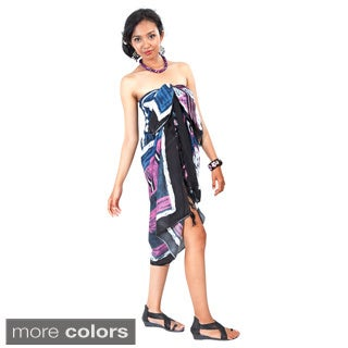 1 World Sarongs Women's Handcrafted Multicolored Abstract Graphic Sarong (Indonesia)
