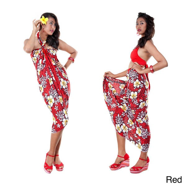 Handmade 1 World Sarongs Women's Vivid Hibiscus Flower Sarong (Indonesia)