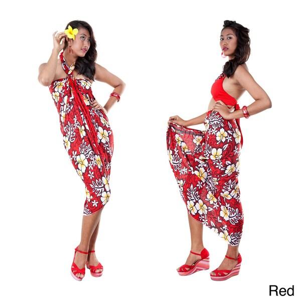 1 World Sarongs Women's Vivid Hibiscus Flower Sarong (Indonesia)