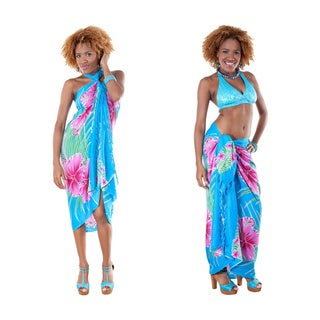 Handmade 1 World Sarongs Women's Hawaiian Floral Sarong (Indonesia)