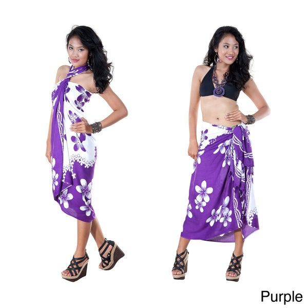 Handmade 1 World Sarongs Women's Plumeria Fringed Sarong (Indonesia)
