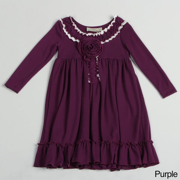 Paulinie Collection Girl's Long Sleeve Hacci Dresss
