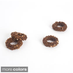 Saro Beaded Metal Napkin Rings (Set of 4)