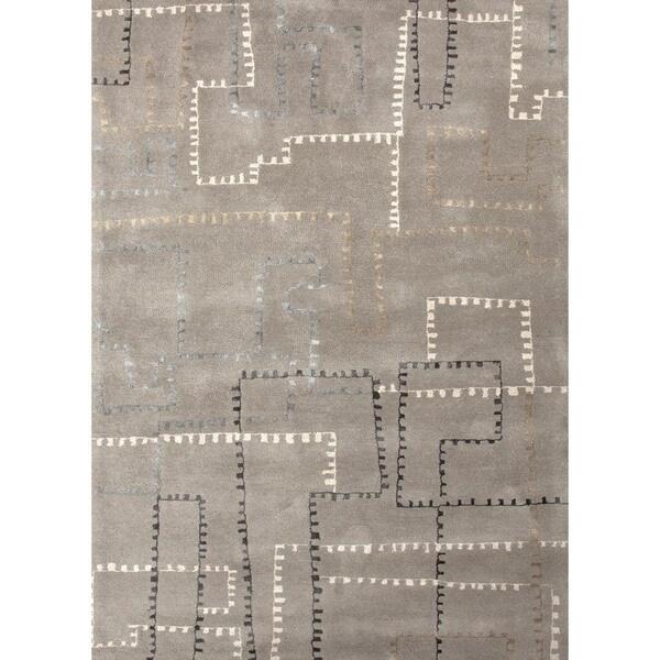 Hand-tufted Geometric Wool/ Silk Rug (3'6 x 5'6)