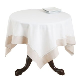 Saro Square Embroidered Hemstitch Table Topper