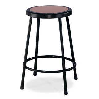 National Public Seating Round Black Hardboard Seat Stool