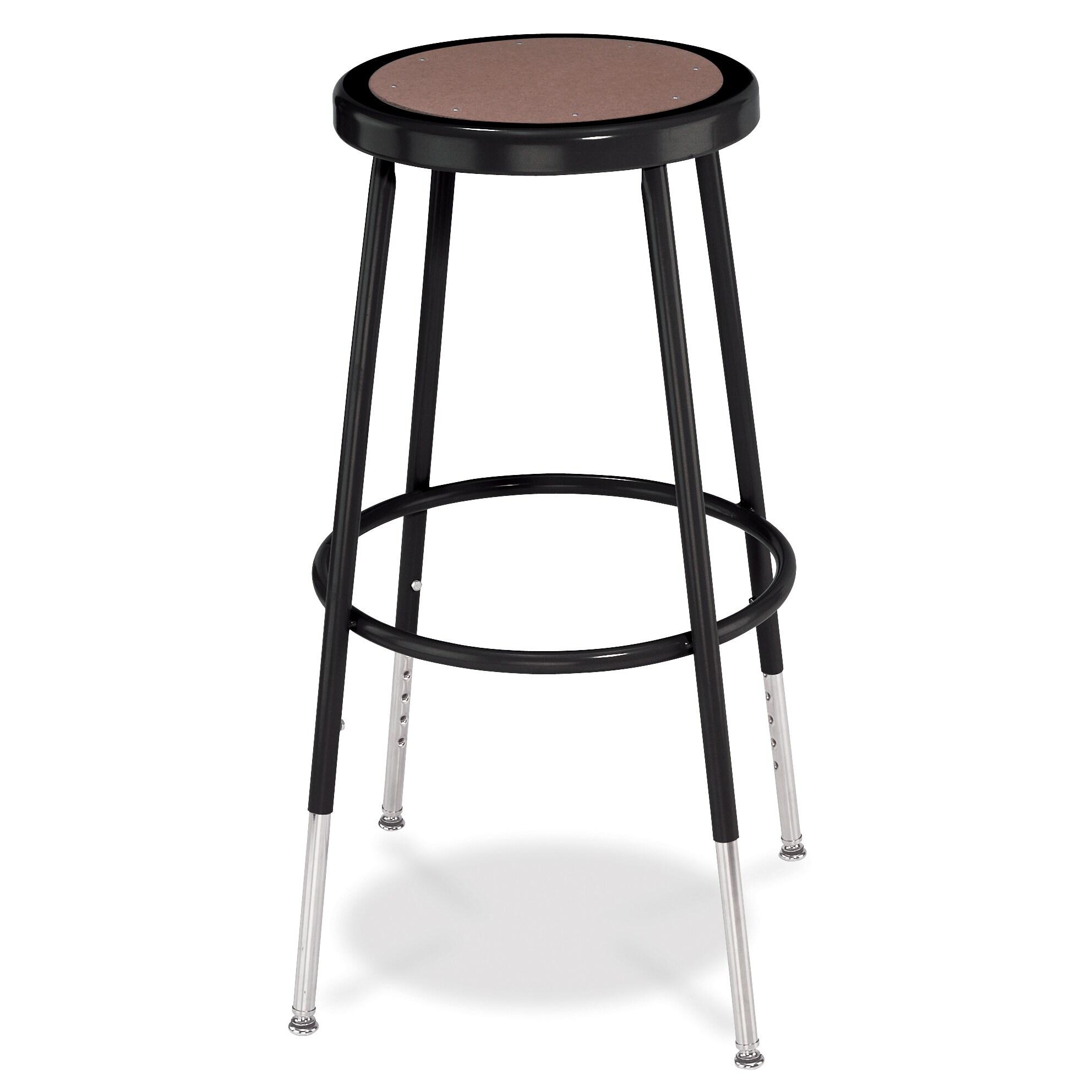 National Public Seating Adjustable Height Black Round Seat Stool (Black Stool w/ Round Hardboard Seat - 25-33H)