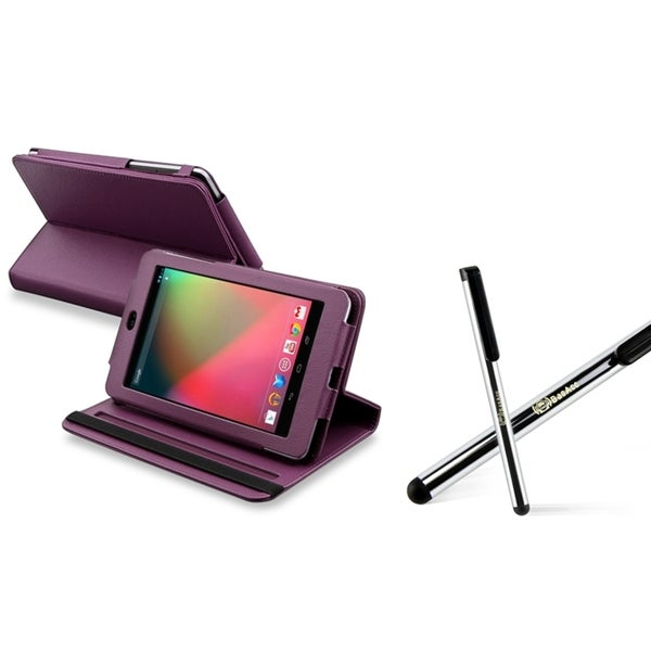 INSTEN Purple Swivel Phone Case Cover/ Silver Stylus for Google Nexus 7