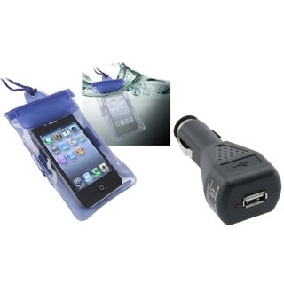 INSTEN Blue Waterproof Bag/ Car Charger for HTC EVO 4G LTE