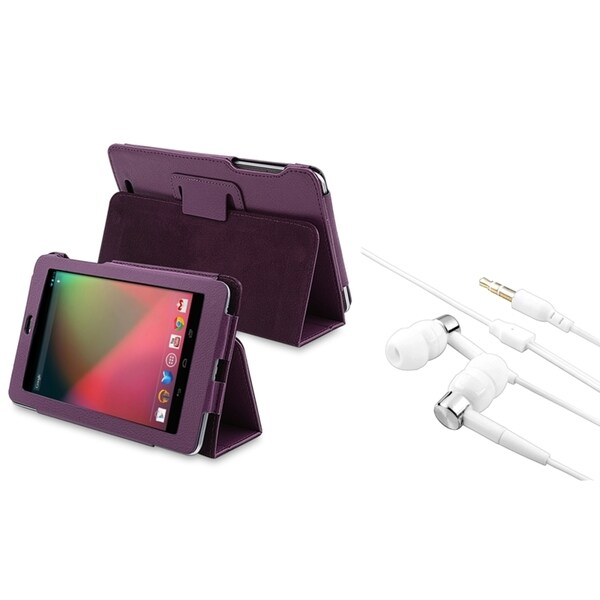 BasAcc Purple Leather Case/ White Headset for Google Nexus 7