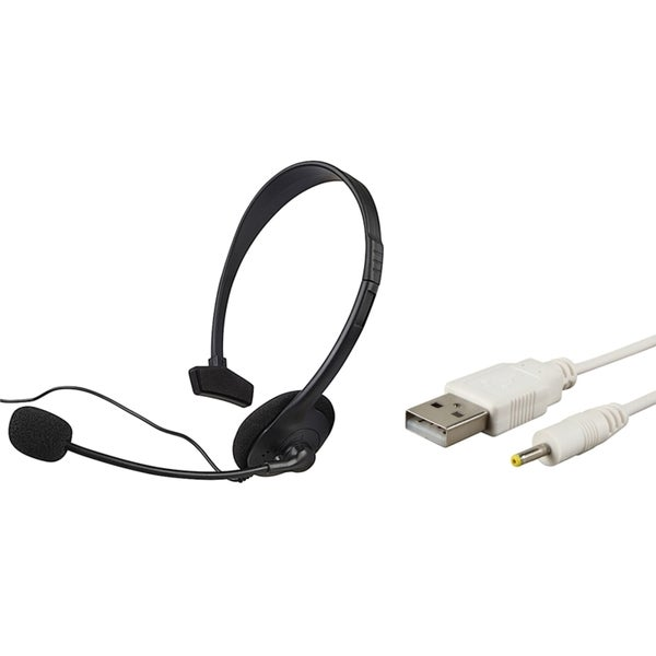 INSTEN USB Charging Cable/ Black Headset for Microsoft Xbox 360