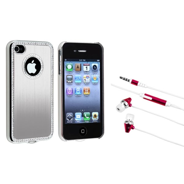 BasAcc Bling Luxury Silver Case/ Headset for Apple iPhone 4/ 4S