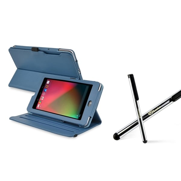 BasAcc Navy Blue Swivel Case/ Silver Stylus for Google Nexus 7