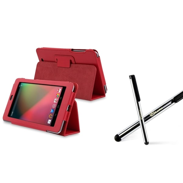 INSTEN Red Leather Phone Case Cover/ Silver Stylus for Google Nexus 7
