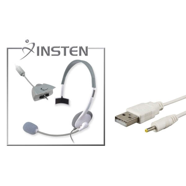INSTEN White Headset/ USB Charging Charge for Microsoft Xbox 360