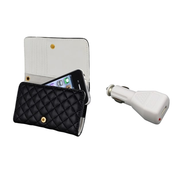 INSTEN Leather wallet Phone Case Cover/ Car Charger for Apple® iPhone 4/ 4S