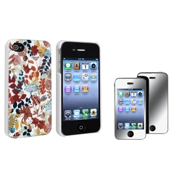 BasAcc Autumn Leaves Case/ Mirror LCD Protector for Apple iPhone 4/ 4S