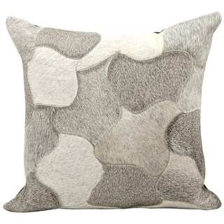 Mina Victory Natural Leather and Hide Jigsaw Puzzle Silver Throw Pillow (20-inch x 20-inch) by Nourison