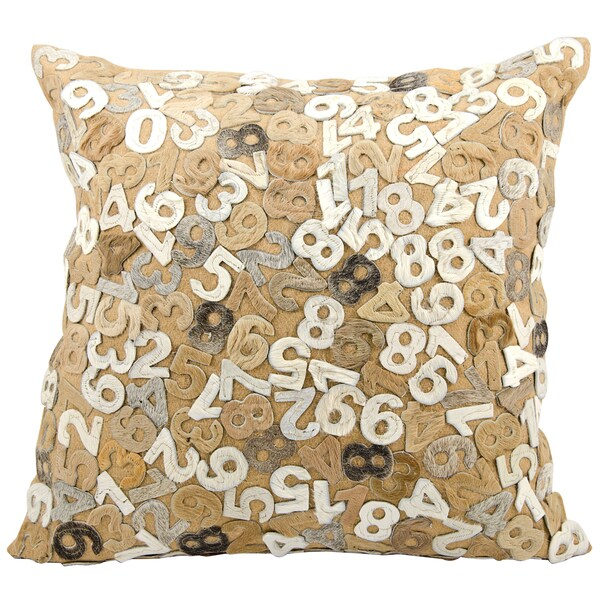 Mina Victory Natural Leather and Hide Numbers Beige Throw Pillow (24-inch x 24-inch) by Nourison