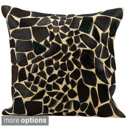 Mina Victory Natural Leather and Hide Giraffe Black Throw Pillow by Nourison
