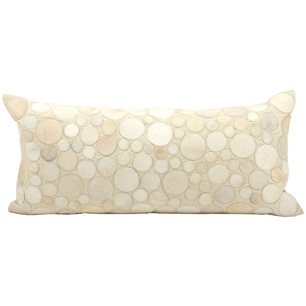 Mina Victory Natural Leather and Hide Circle Ivory Throw Pillow (14-inch x 30-inch) by Nourison