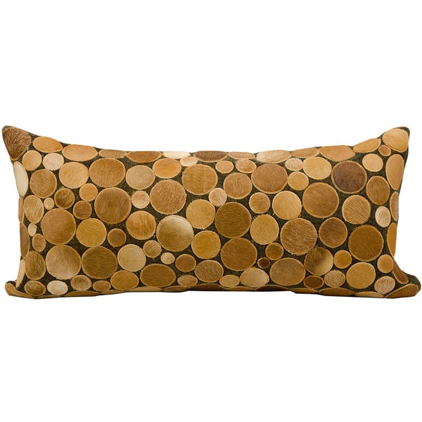 Mina Victory Natural Leather and Hide Circle Amber Throw Pillow (14-inch x 30-inch) by Nourison