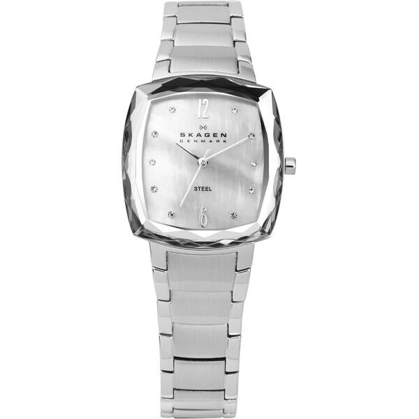 Skagen Women's Silvertone Steel Square Watch