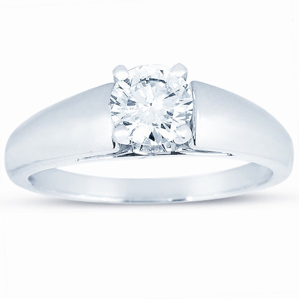 14k White Gold 1ct TDW Certified Round Diamond Solitaire Engagement Ring (J, VS2)