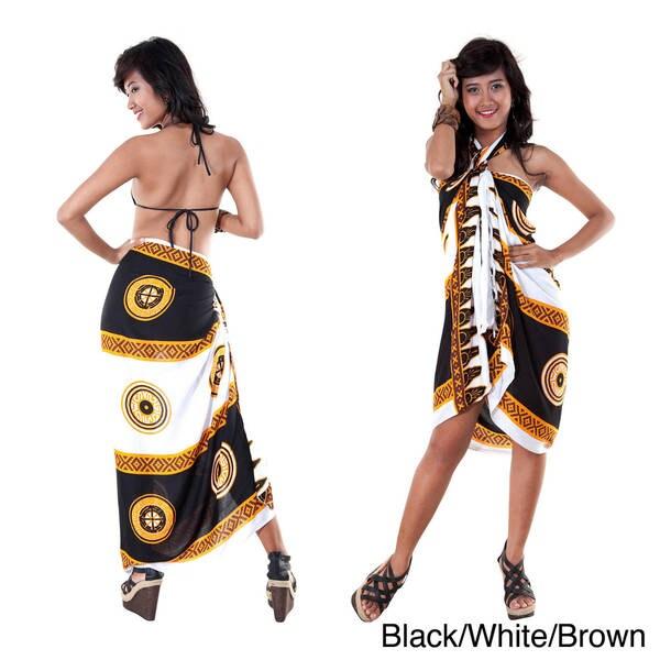 Handmade 1 World Sarongs Women's Abstract Tiki Sarong (Indonesia)