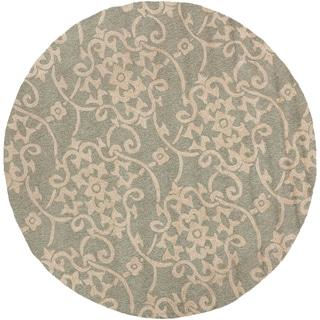 Hand-hooked Kenora Gray Indoor/Outdoor Floral Rug (8' Round)