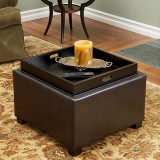 Link to Andrea Brown Leather Tray Top Storage Ottoman by Christopher Knight Home Similar Items in Ottomans & Storage Ottomans