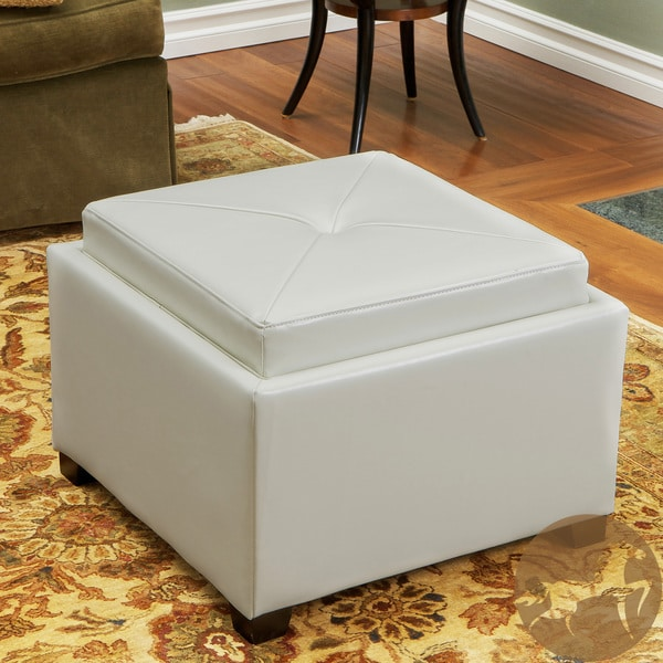 Andrea Ivory Leather Tray Top Storage Ottoman by Christopher Knight Home