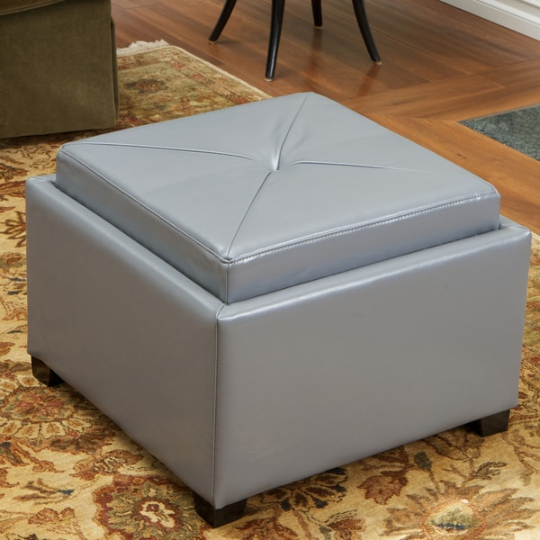 Paddington Grey Chessboard Storage Ottoman by Christopher Knight Home