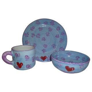 Handmade Plate, Mug and Bowl Children's Pottery Set in Blue (Peru)