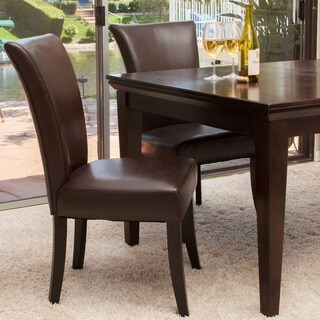Stanford Brown Leather Dining Chairs (Set Of 2) By Christopher Knight Home
