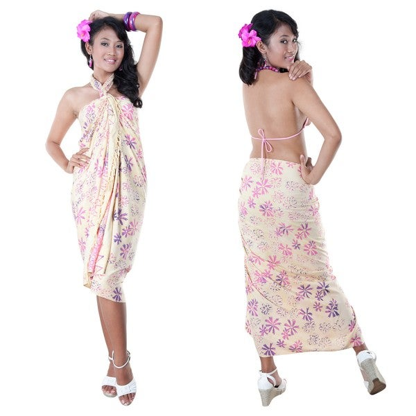 Cream Abstract Floral Sarong (Indonesia)