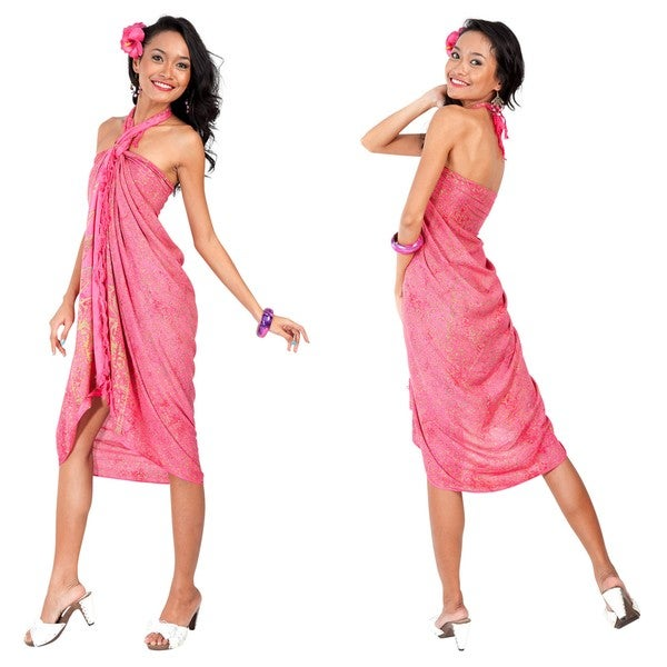 1 World Sarongs Women's Pink/Gold Abstract Sarong (Indonesia)