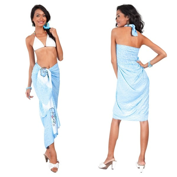Hand-Painted, Hand-Embroidered Light Blue Sarong (Indonesia)