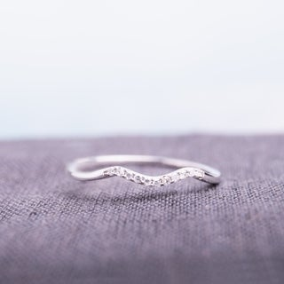 10k White Gold Diamond Accent Chevron Wedding Band by Miadora