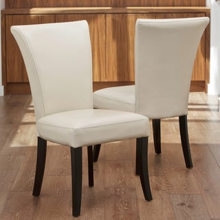 Stanford Ivory Leather Dining Chairs (Set of 2) by Christopher Knight Home