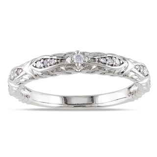 Miadora 10k White Gold 1/10ct TDW Diamond Vintage Stackable Wedding Band Ring