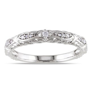 Miadora 10k White Gold 1/10ct TDW Diamond Vintage Stackable Wedding Band Ring