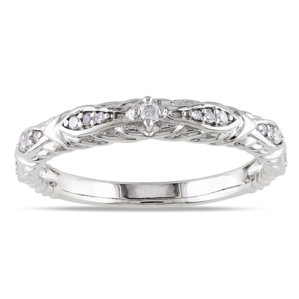 Miadora 10k White Gold 1/10ct TDW Diamond Vintage Stackable Wedding Band Ring (G-H, I1-I2)