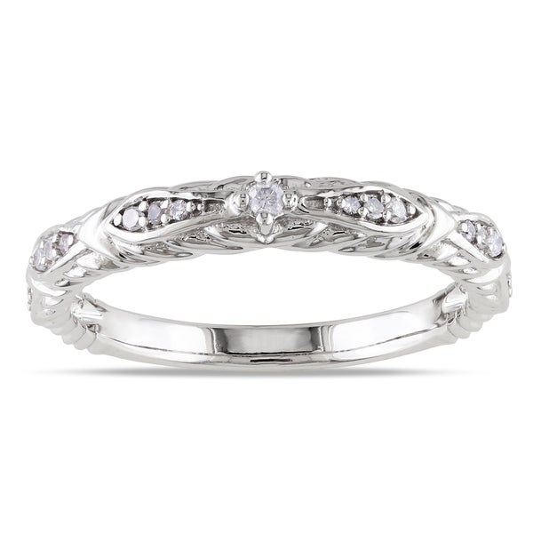Miadora 10k White Gold 1 10ct TDW Diamond Vintage Stackable Wedding Band Ring