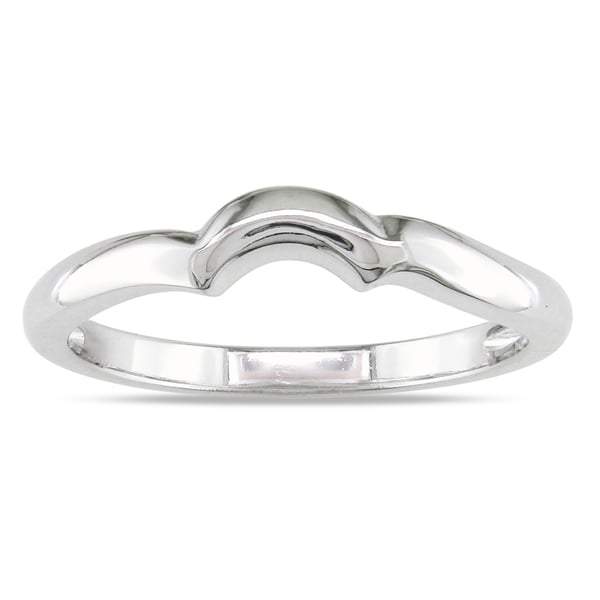 Miadora 10k White Gold Highly Polished Contour Wedding Band