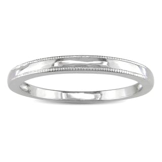 Miadora 10K White Gold Textured Wedding Band