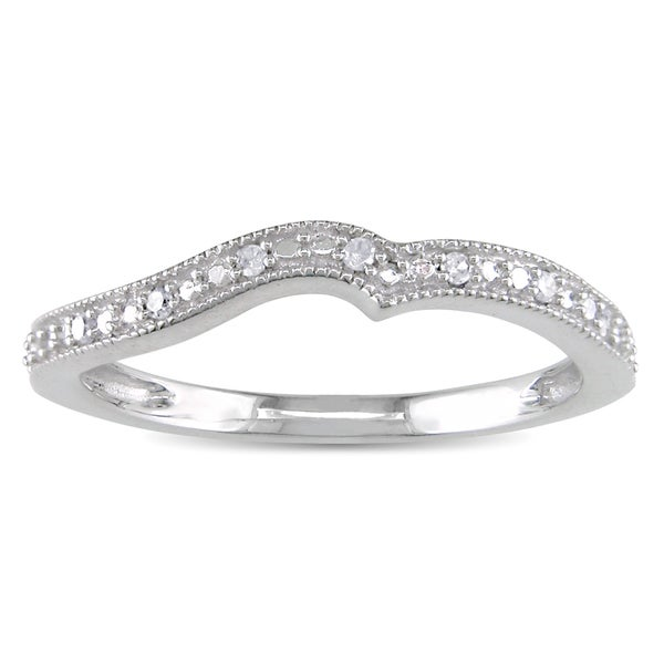 Miadora 10k White Gold Diamond Accent Contour Anniversary-style Stackable Wedding Band Ring (G-H, l1-l2)