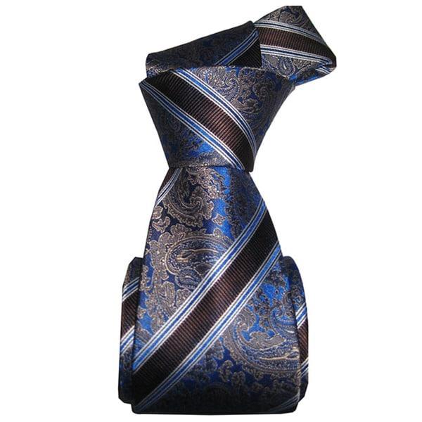 Dmitry Men's Italian Blue Striped Silk Tie